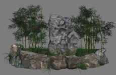 竹子石头假山组合模型