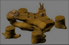 3d根雕茶桌模型