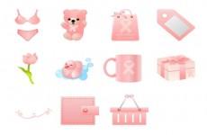 粉红丝带购物图标