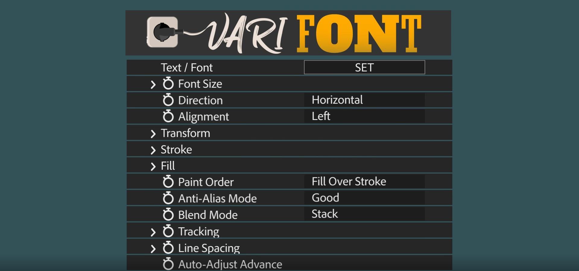 AE插件:支持多样可变字体样式 VariFont v1.0