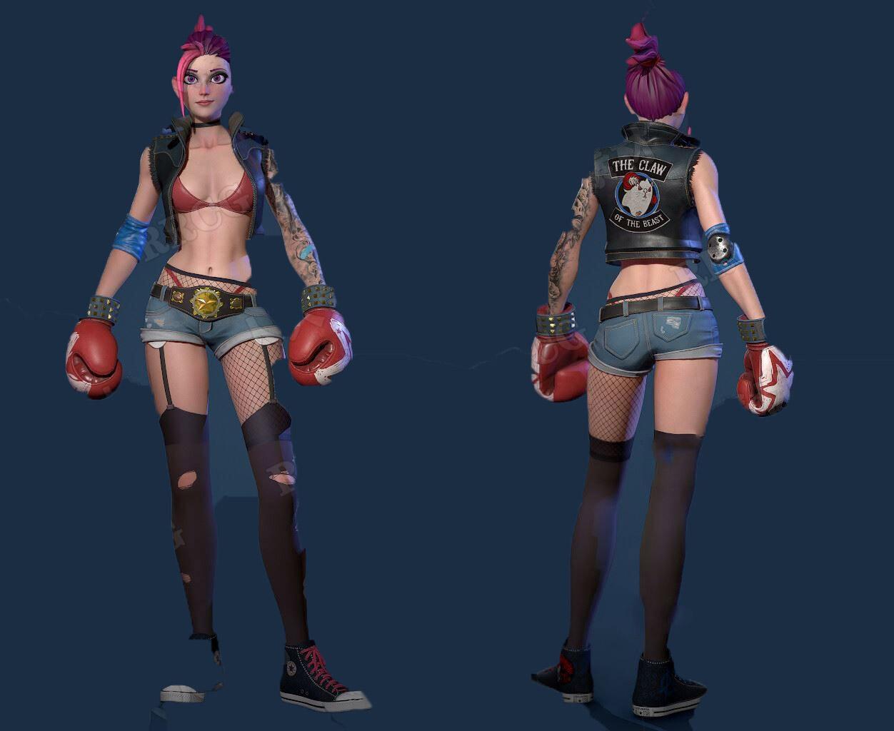 赛博朋克女拳击手3D模型