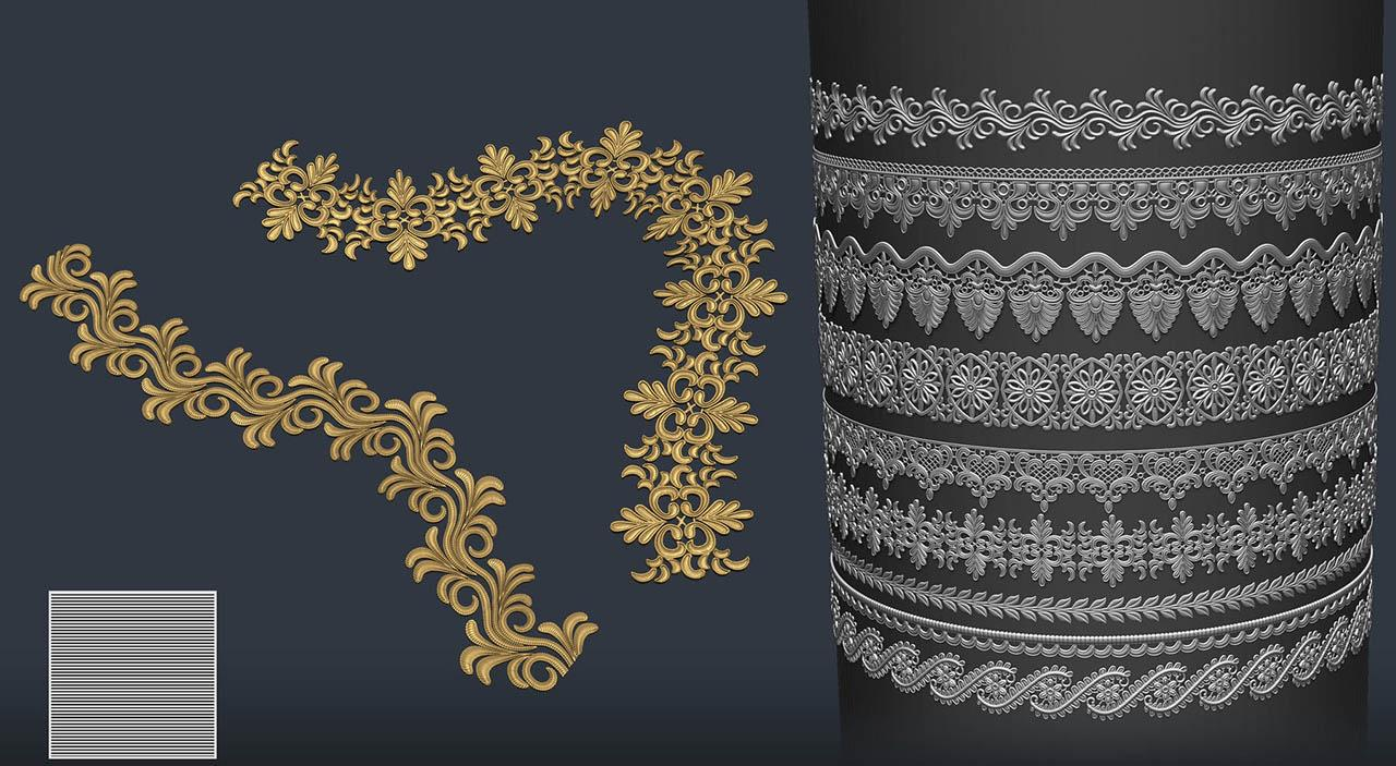 Zbrush装饰花边图案笔刷