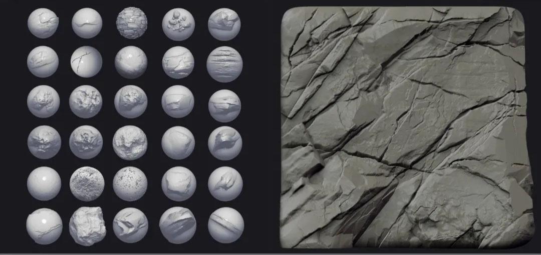 ZBrush石头岩石笔刷