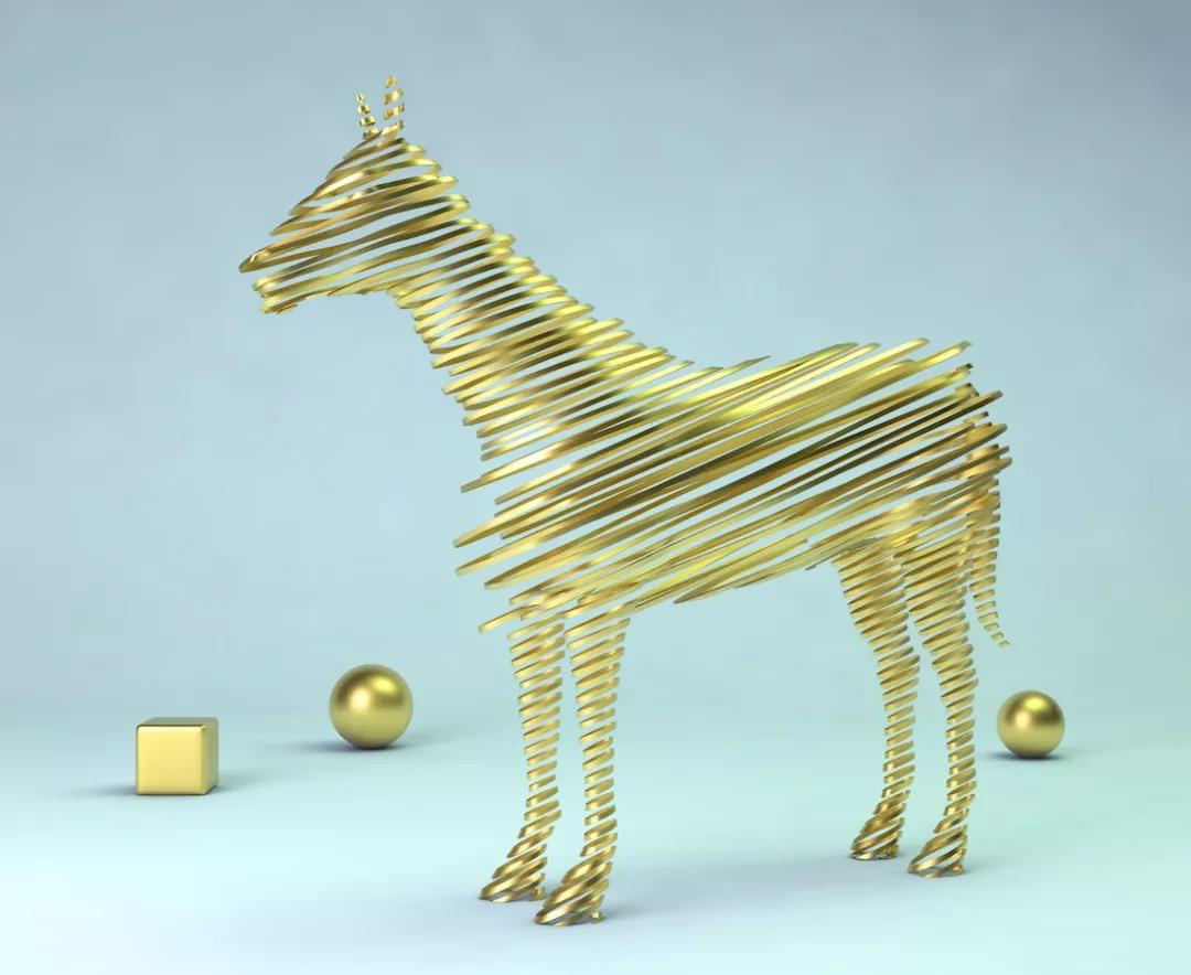 C4D制作破碎的金马模型