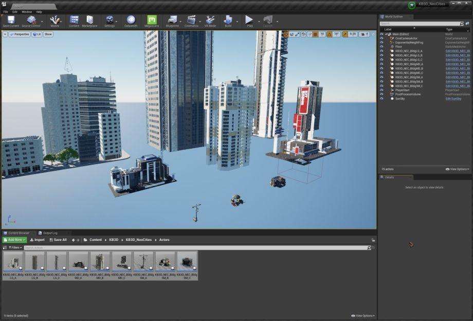在UE4中创建赛博朋克城市场景