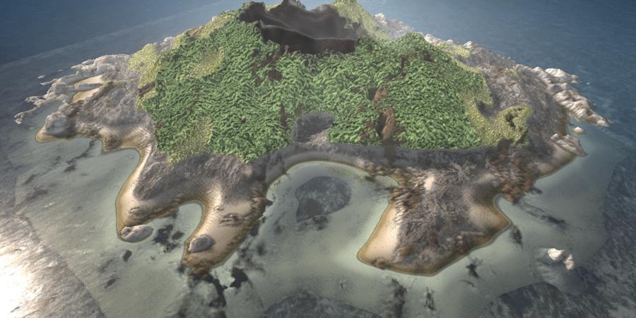 C4D模型:海中小岛
