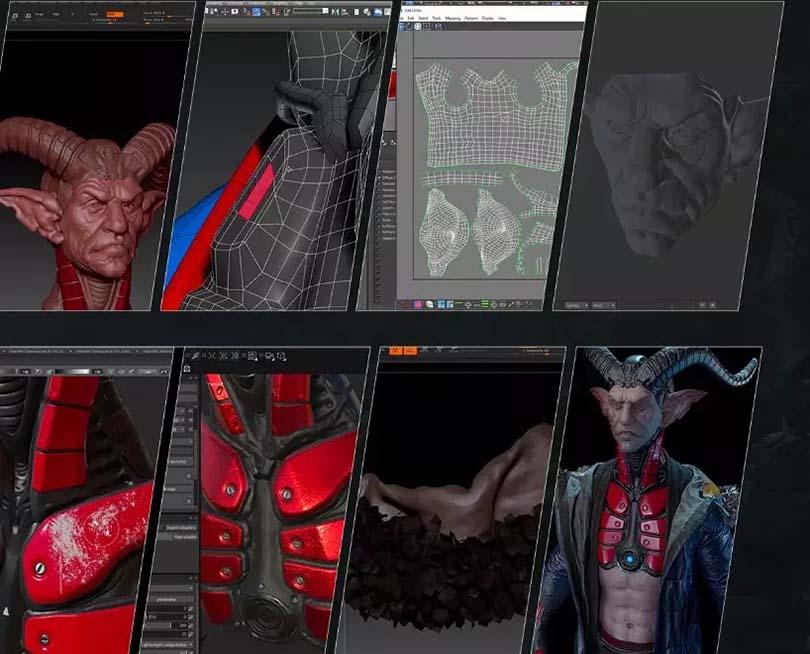 高级游戏角色模型《羊角魔斗士》创建全流程