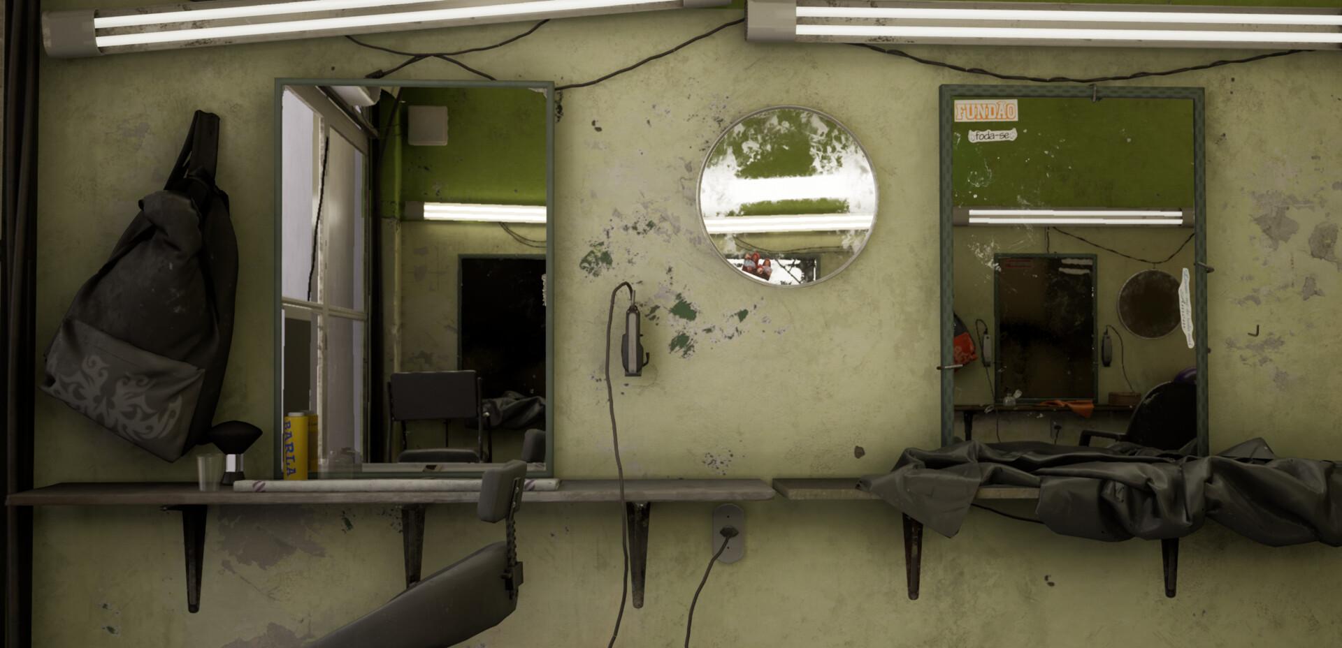 UE4场景制作:贫民区理发店