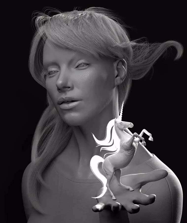 自Piotr Rusnargzyk的作品 《Girl with Unicorn》